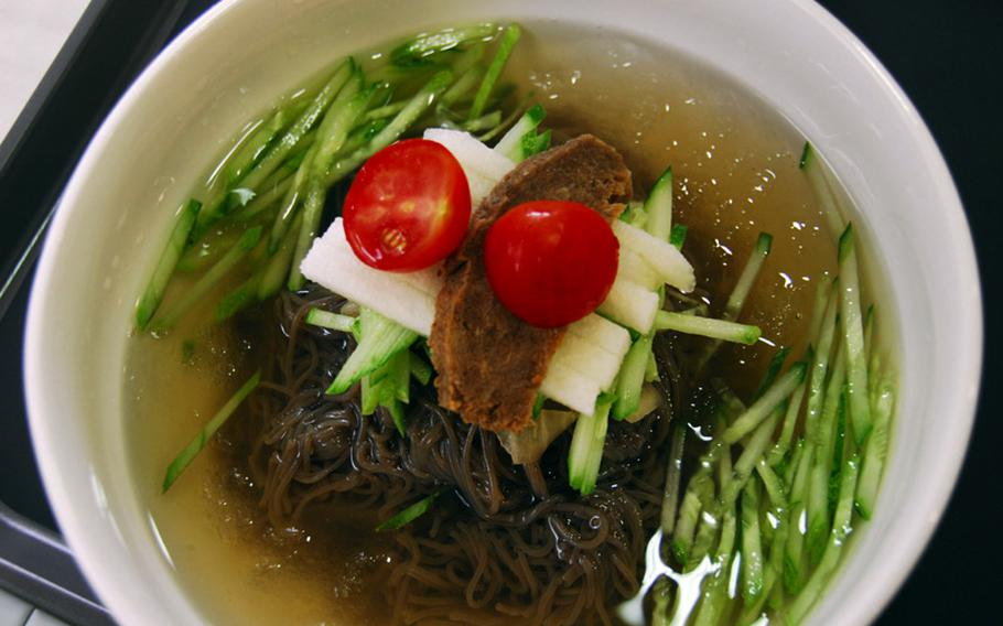 Vegetarian naeng myeon, or cold noodles served in imitation meat broth, at the Loving Hut in Hannam-dong, Seoul.