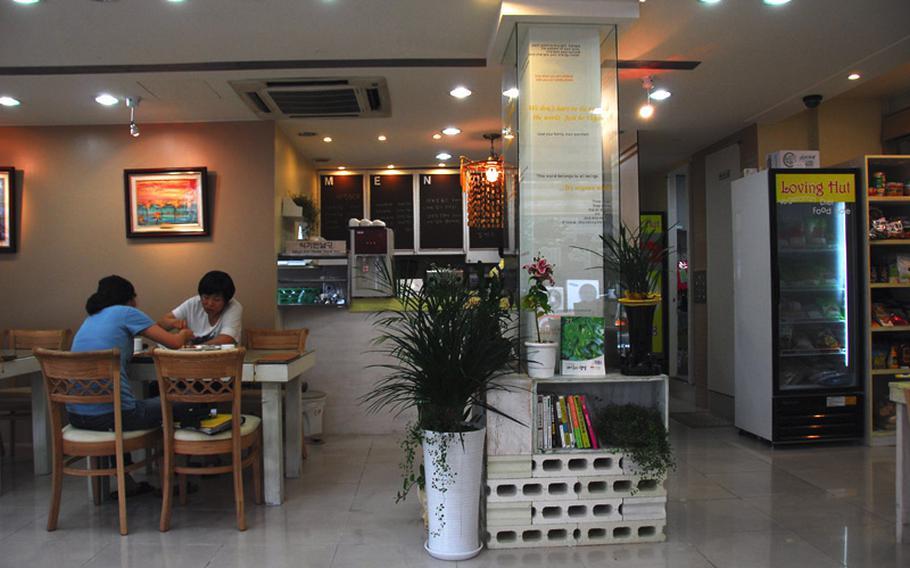 Inside the Loving Hut, a Korean vegan restaurant near Hannam Village in Seoul.