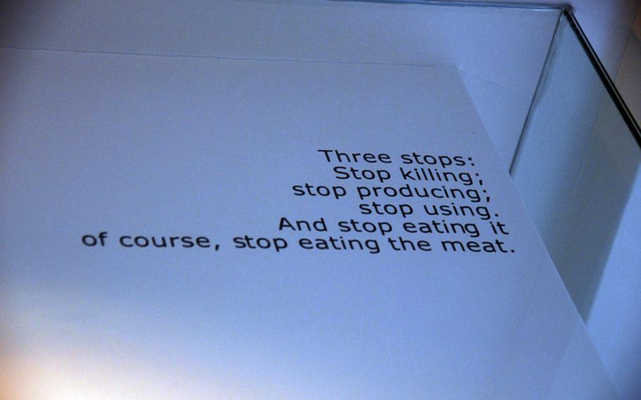 Customers at the Loving Hut, a Korean vegan restaurant in Seoul, will have no trouble complying with this message encouraging them to stop eating meat.