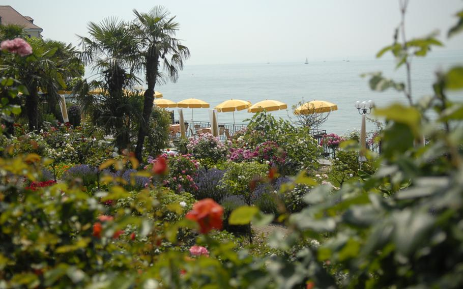 Lush flowers line the landscape in Meersburg, one of the more picturesque towns along Lake Constance. The town offers scenic walks along the lake and up its steep back streets.