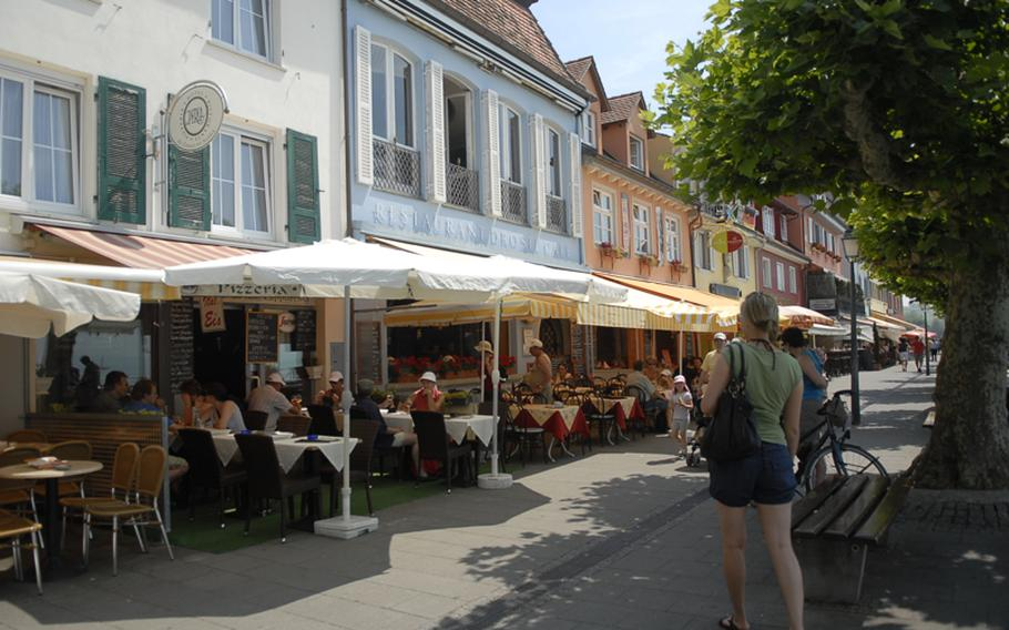 Colorful buildings are everywhere in Meersburg, where seafood restaurants abound. Interesting knickknack shops and wine bars can be found around nearly every corner.