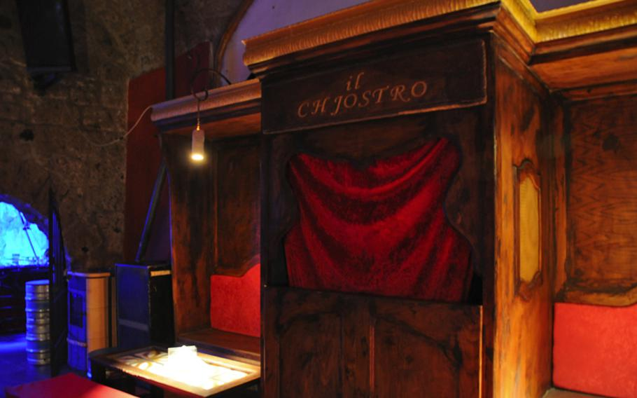 As a joke, the owner of Il Chjostro build a Catholic confessional booth in his restaurant, adding a little levity and irony to the trendy bar and restaurant built in a former Norman cloister.