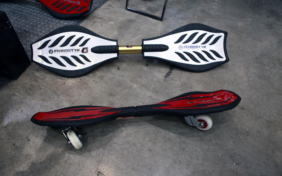 The Ripstick, seen at the International Tokyo Toy Show, is a cross between a snowboard and a skateboard.