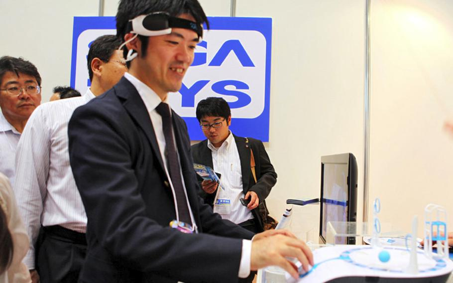 The Mindflex, as seen at the Tokyo Toy Show, is a device that allows you to move a ball with the power of your mind.