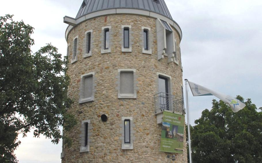 While you are waiting for your food, you can go to the nearby reconstructed watchtower and climb the steps for a panoramic view of the Rhine-Main region.  Drawings on the walls next to the windows and balcony where you can climb outside show you what you are seeing from your viewpoint.