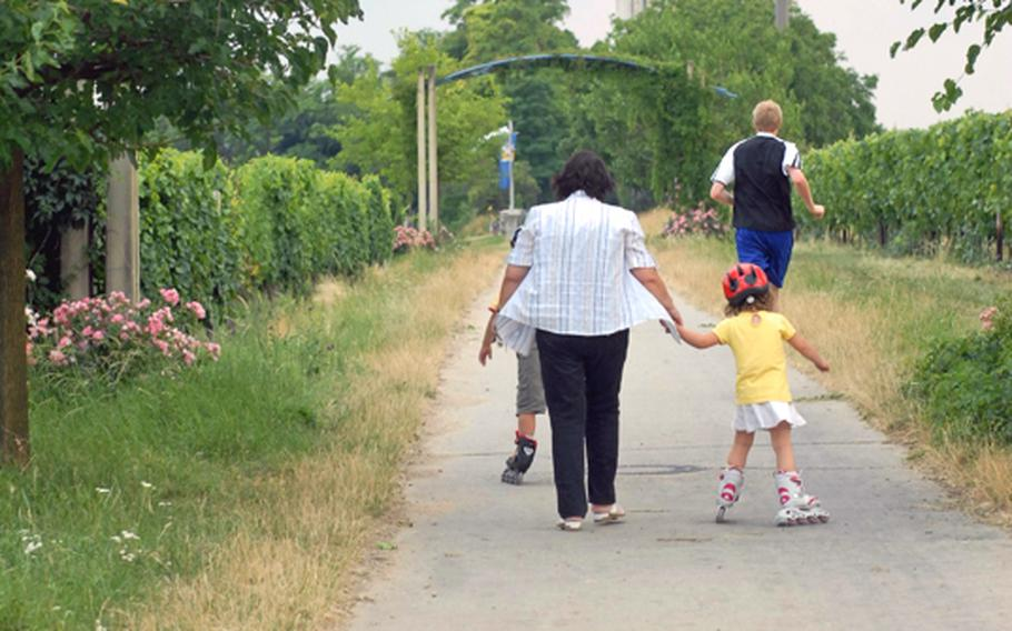 A family makes its way to the Flörsheimer Warte,  about a 10-minute walk from its parking lot. It's a relaxed place for children -- and dogs -- to play.