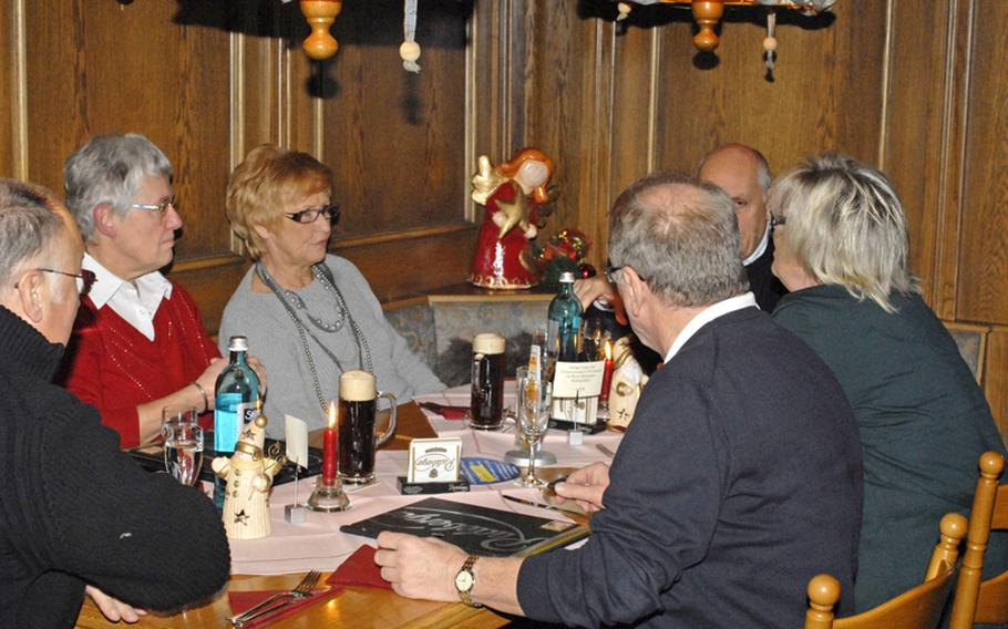 Guests enjoy the comfortable and festive atmosphere of the Landgasthaus Lindenhof in Neuberg, Germany.  With seasonal themes, the menu is always in flux to keep with the current  holiday or season.