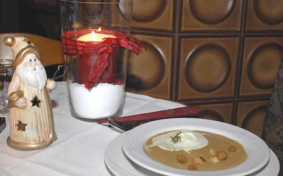 A warm bowl of chestnut soup makes a perfect starter to set the holiday spirit or warm the body at the Landgasthaus Lindenhof in Neuberg, Germany.
