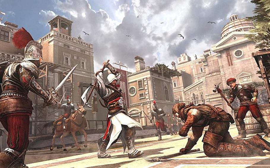 """Ezio isn't always stealthy when he takes out his foes in """"Assassin's Creed Brotherhood."""""""