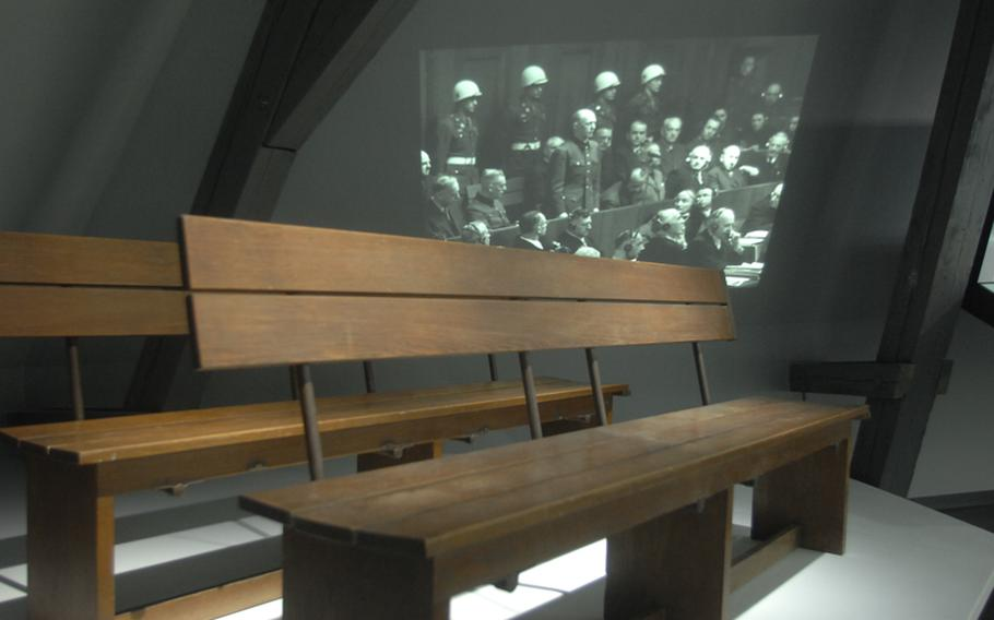 The bench where Nazi leaders sat to face justice at the war crimes trials held in Nuremberg, Germany, after World War II as part of the multimedia exhibit Memorium Nuremberg Trials.