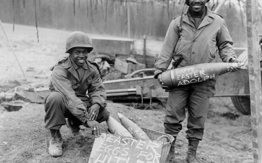 Cpl. William E. Thomas and Pfc. Joseph Jackson prepare a surprise for German troops on Easter morning, 1945. The life of black soldiers in Germany during and after World War II is the subject of a new book,  'A Breath of Freedom: The Civil Rights Struggle, African American GIs, and Germany.'