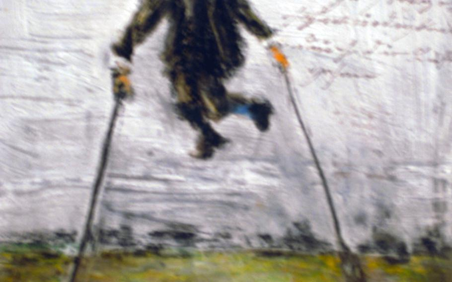 The exhibition features the works of Josef Forster, a mental patient at an asylum in Regensburg, Germany, in the early 1900s. Forster, diagnosed as schizophrenic, longed to be able to transcend his human failings and move about by floating through the air. In this painting by him, he is wearing a mask to keep his bodily essences contained and remains tethered to the ground only by weights attached to walking sticks.