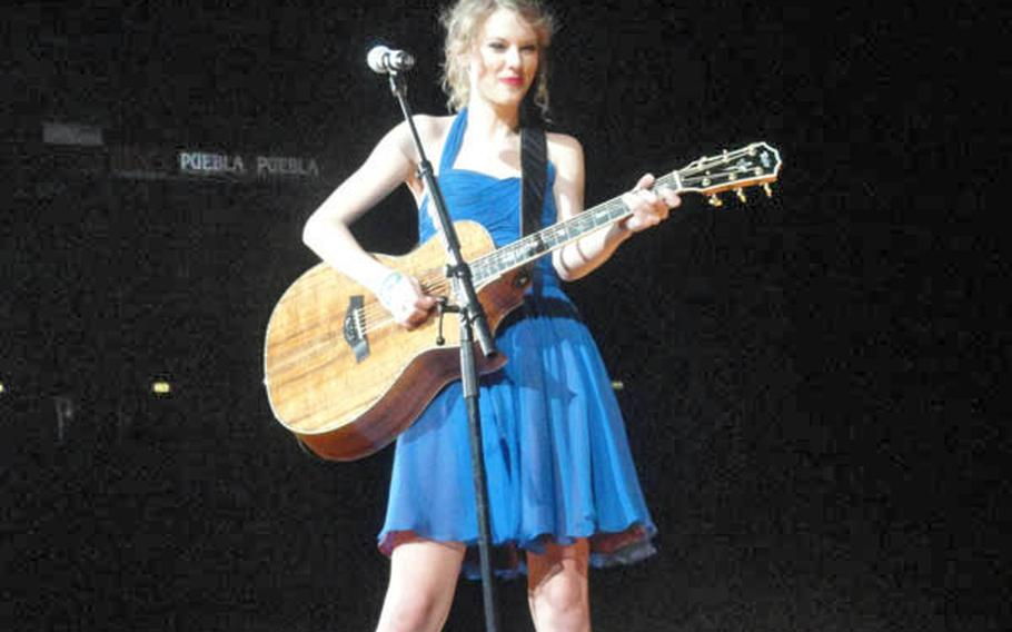 Taylor Swift performing in concert at the Mediolanum Forum in a suburb of Milan on March 15.