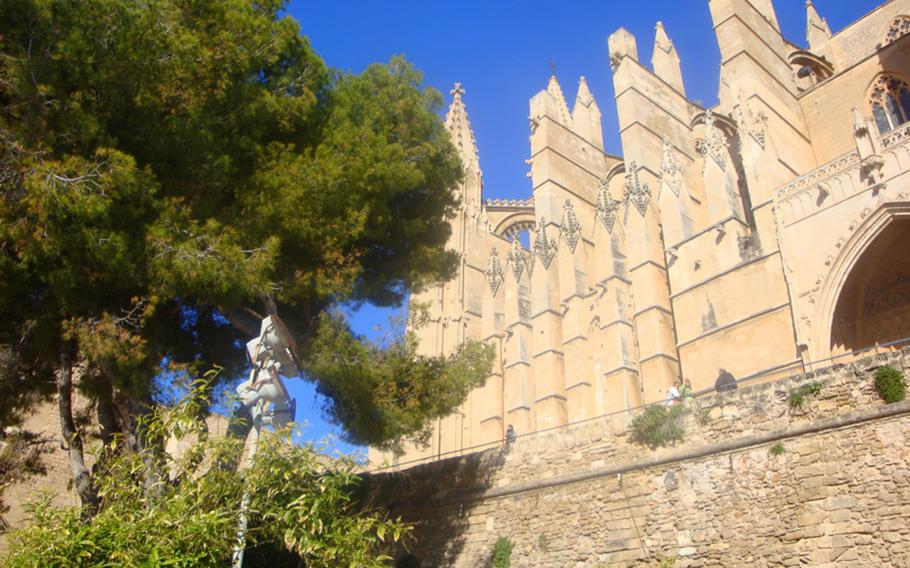 The Cathedral of Santa Maria of Palma, more commonly referred to as La Seu, is a huge Gothic church that is impossible to miss. Its back door opens up to the city of Palma, and the front faces the Mediterranean Sea.