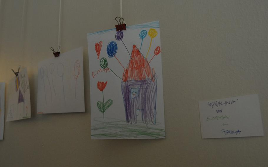 This Easter artwork displayed at the Milchundzucker coffee shop in Kaiserslautern was recently contributed by 5-year-old Emma Schläfer, a frequent 'customer,' along with her sister, Paula, and mother Michaela Schläfer. 'It's a place to feel at home,' said Schläfer of the coffee shop.