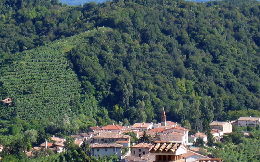 The lush green hills near Valdobbiadene in northeast Italy, where producers make the refreshing wine called Prosecco.