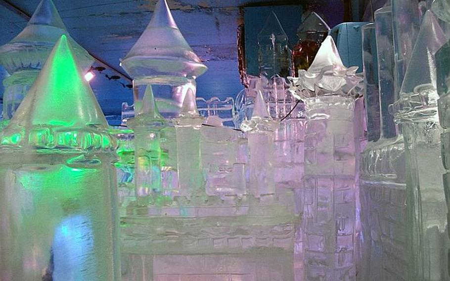 Ice sculptures featured in the Ice Gallery in Seoul include the Eiffel Tower and the Leaning Tower of Pisa.