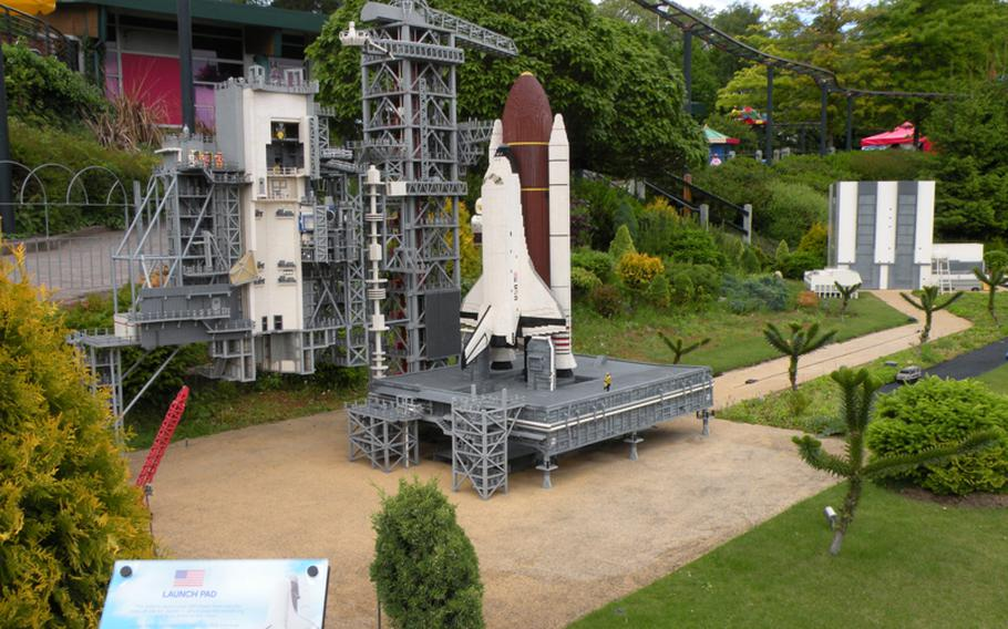 A model of NASA's launch pad for the space suttle is one of the meticulously created exhibits at Legoland Windsor, located just west of London.