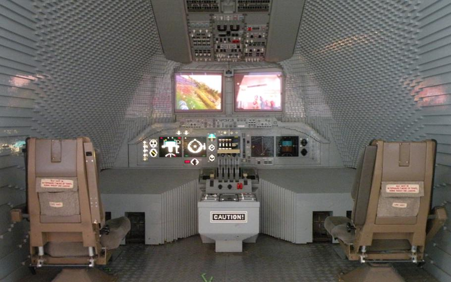 The cockpit of what appears to be a large passenger jet is made entirely out of Lego blocks at Legoland Windsor.  s