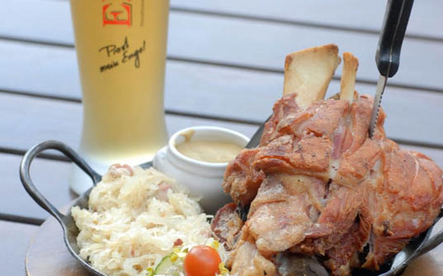 On select Fridays, Gasthaus Zum Engel in Wiesbaden offers a more than 3-pound helping of grilled leg of pork that can be enjoyed right off the bone for 14.60 euros.