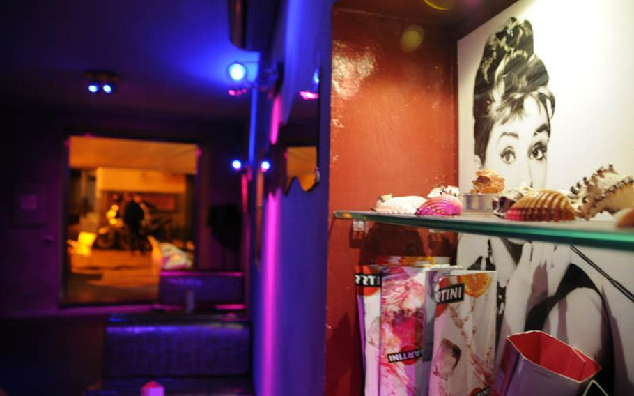 Much of the decor in G.H. Mumm is Hollywood-based, like this portrait of Audrey Hepburn.