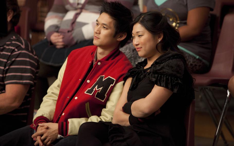 "Mike (Harry Shum, Jr.) and Tina (Jenna Ushkowitz) in ""The Sue Sylvester Shuffle"" episode of Glee."