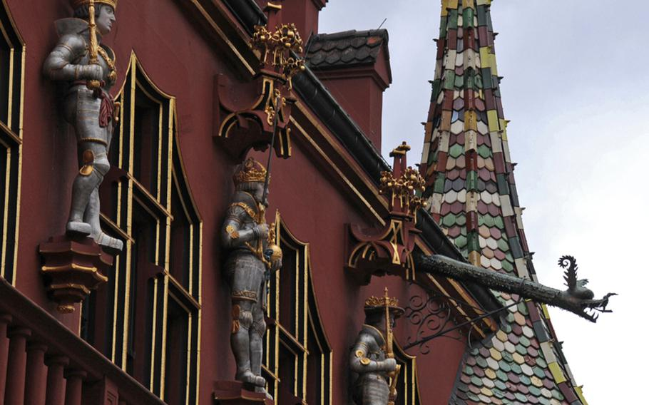 The decorative facade of the medieval finance and customs center in Freiburg's old town.