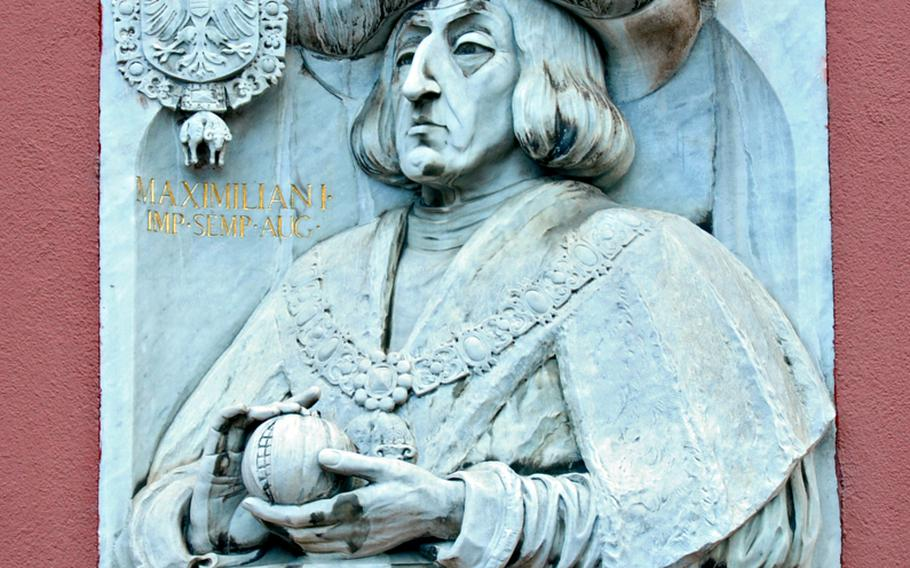 Emperor Maximilian I lived in Freiburg and this marble sculpture decorates his former house.