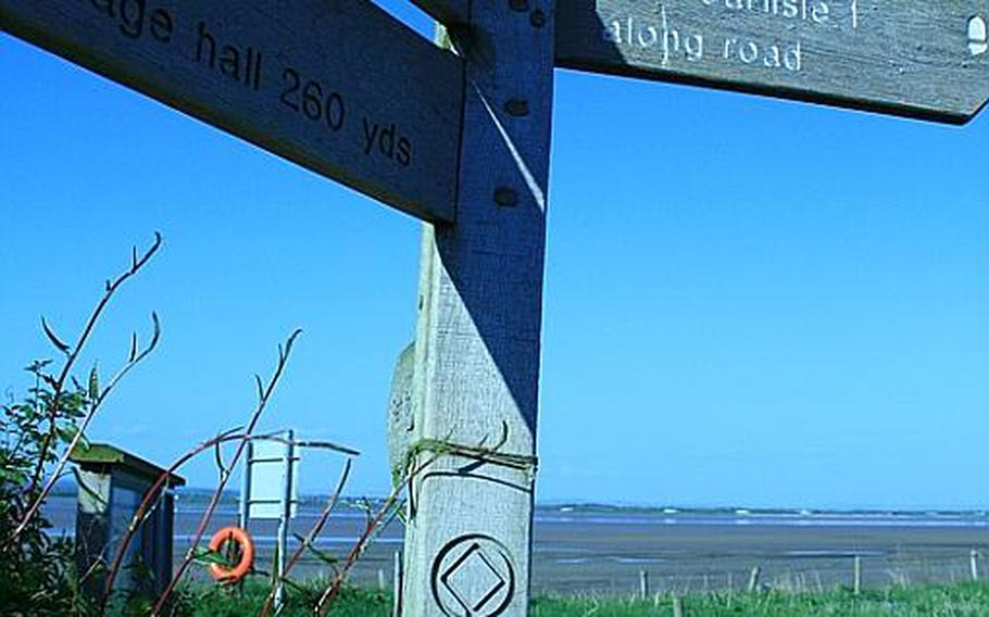 The beginning --- or the end --- of the Hadrian's Wall trail at Bowness, near the Irish Sea.