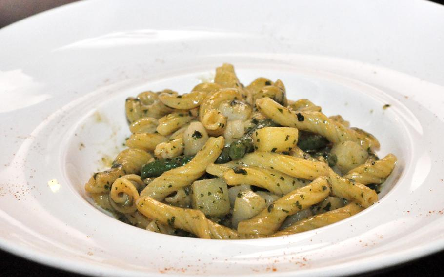 This pasta dish featured a pesto sauce that included potatoes and green beans and was a first-course choice recently at Vineria.