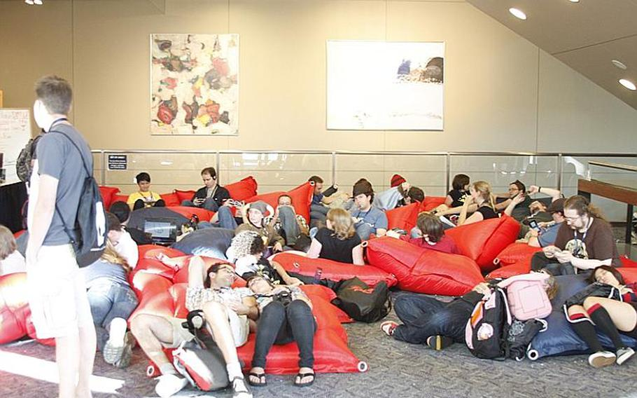 Bean bag lounges were a great place to crash and play some video games after 10 hours of running around playing video games at PAX.
