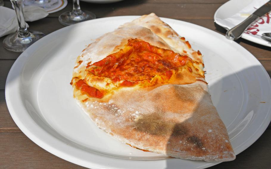 And there it is --- the delicious calzone available with a variety of ingredients at Aposto Cafe-Restaurant-Bar in Bamberg, Germany.