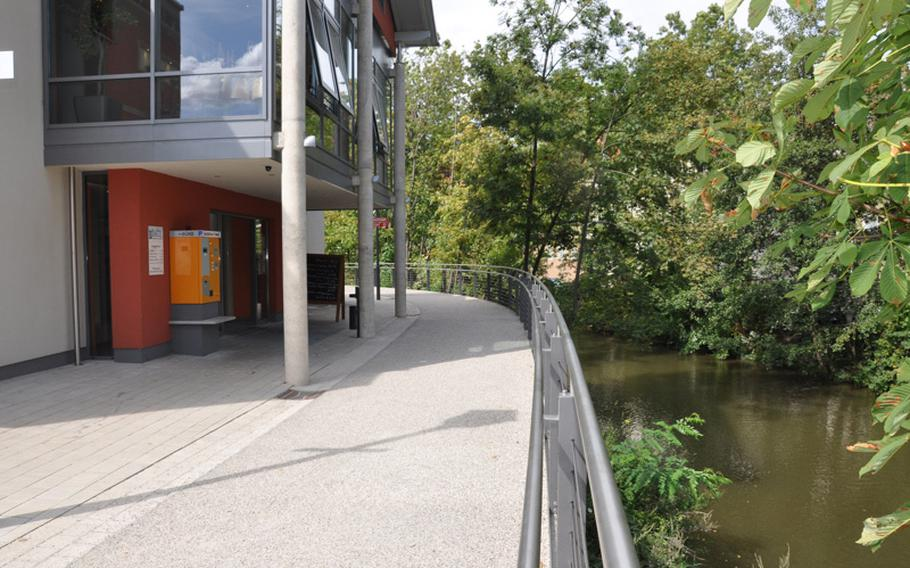 Aposto Cafe-Restaurant-Bar in Bamberg, Germany, sits along the Regnitz River, making for a pleasant summertime dining atmosphere.