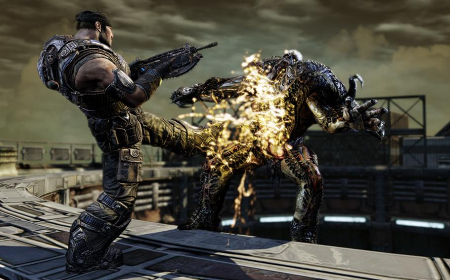 Marcus Fenix battles a Lambent-infected Locust in a scene from ''Gears of War 3.''