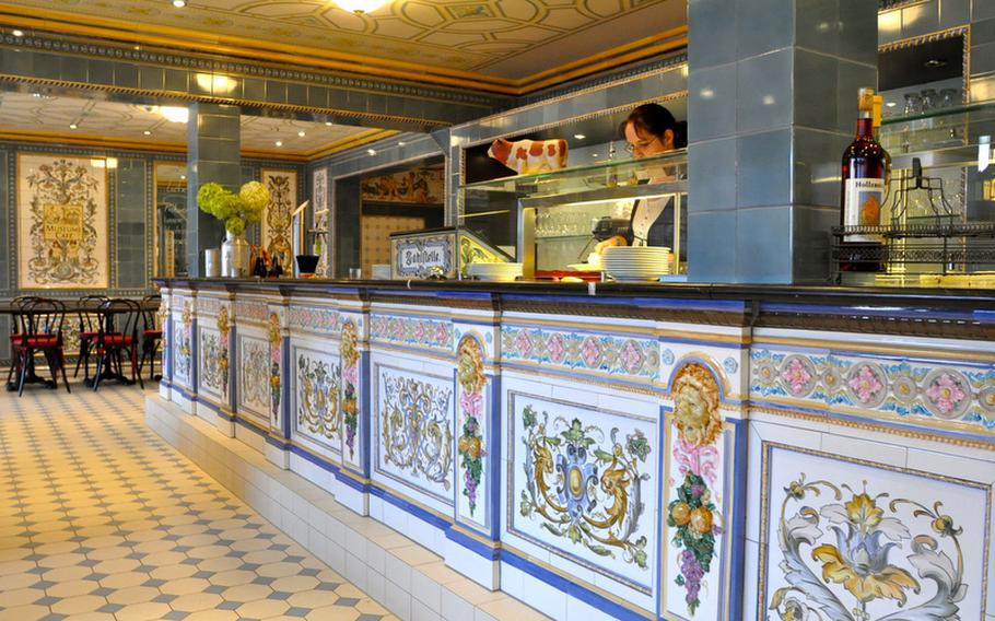 The Villeroy & Boch museum cafe is decked out floor to ceiling in an elaborate tile design, inspired by a Dresden dairy story from 1892. The cafe offers cheap cappuccinos served in the company's finest porcelain cups.