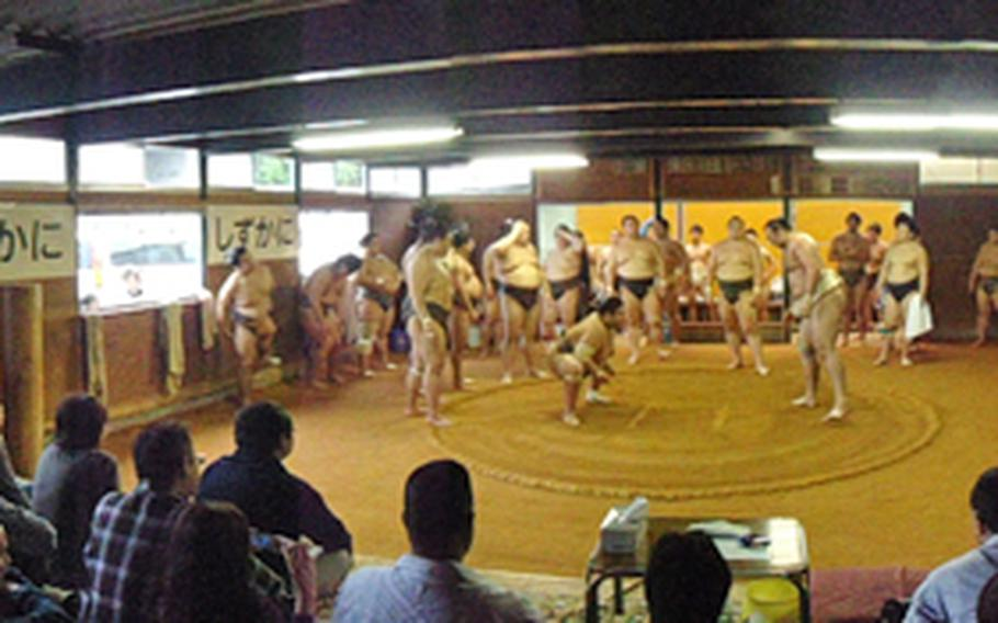 Throngs of onlookers watch sumo superstars spar at the Sadogatake sumo wrestler stable in Fukuoka, about two hours by bus from Sasebo Naval Base.