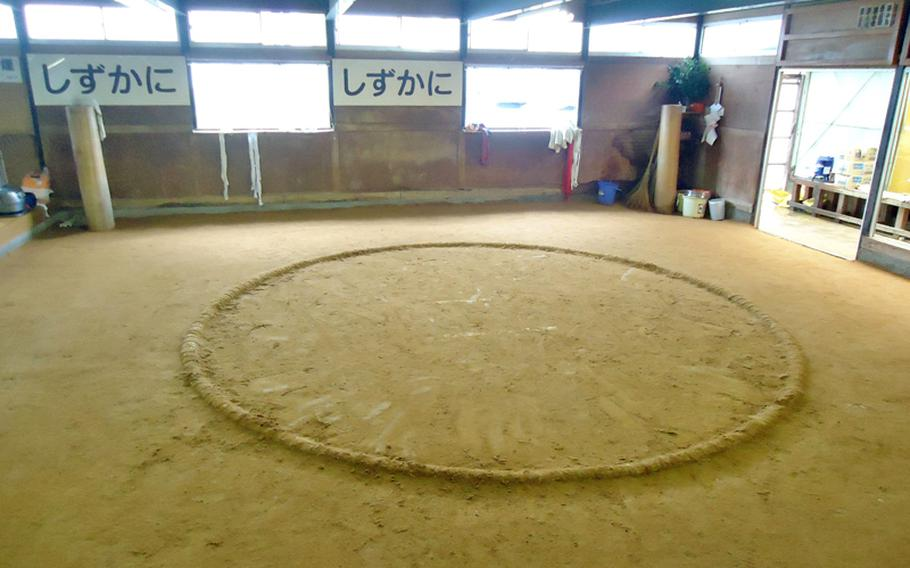 The dirt ring at the Sadogatake sumo wrestler stable in Fukuoka, about two hours by bus from Sasebo Naval Base, after a morning training session.