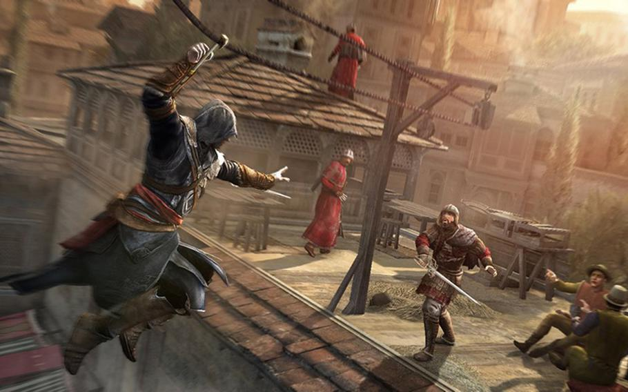 The assassin Ezio rides a zip line toward Templar soldiers in 'Assassin's Creed: Revelations,' which is set in Istanbul, Turkey.