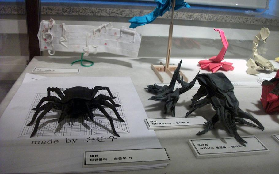 Paper art beetles and spiders were also featured at the museum in Seoul.