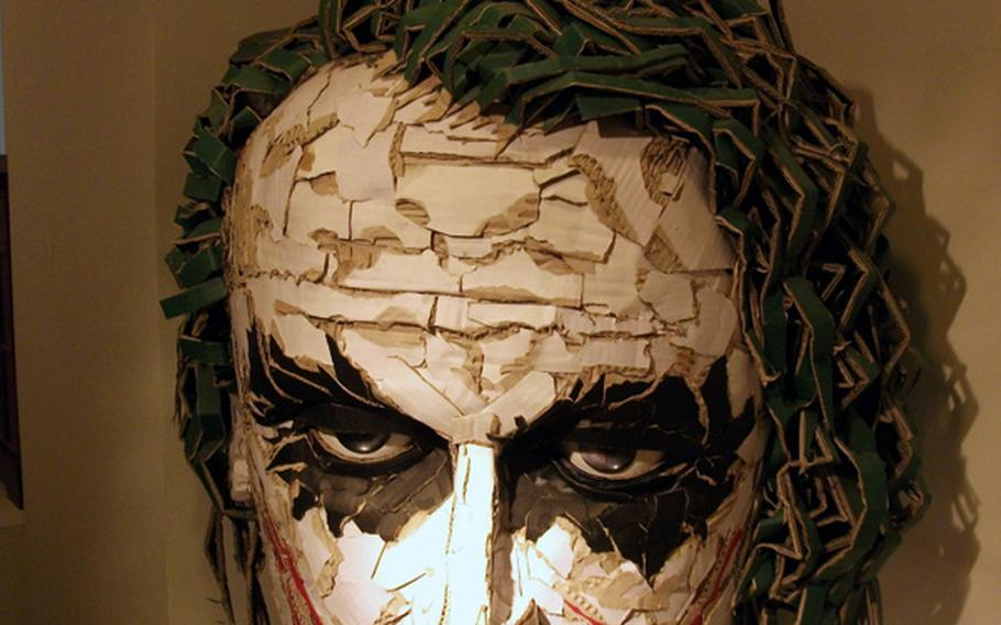 The head of The Joker, from the Batman comic series, made from paper. It is part of the exclusive exhibition at the Jong IE Nara Paper Art Muiseum in Seoul.