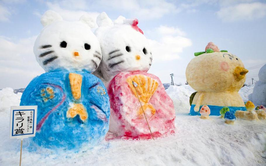 A Hello Kitty snow sculpture was one of the many colorful works on display last year at the annual hot air balloon festival in Ojiya, Japan.