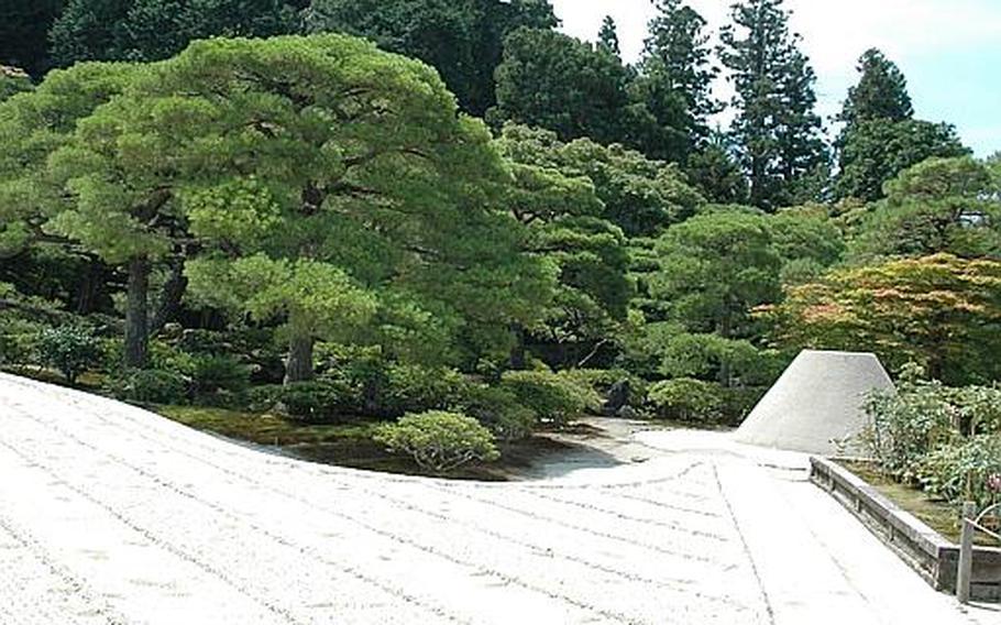 The Ginkaku-ji's grounds feature plenty of bamboo and a sand garden.
