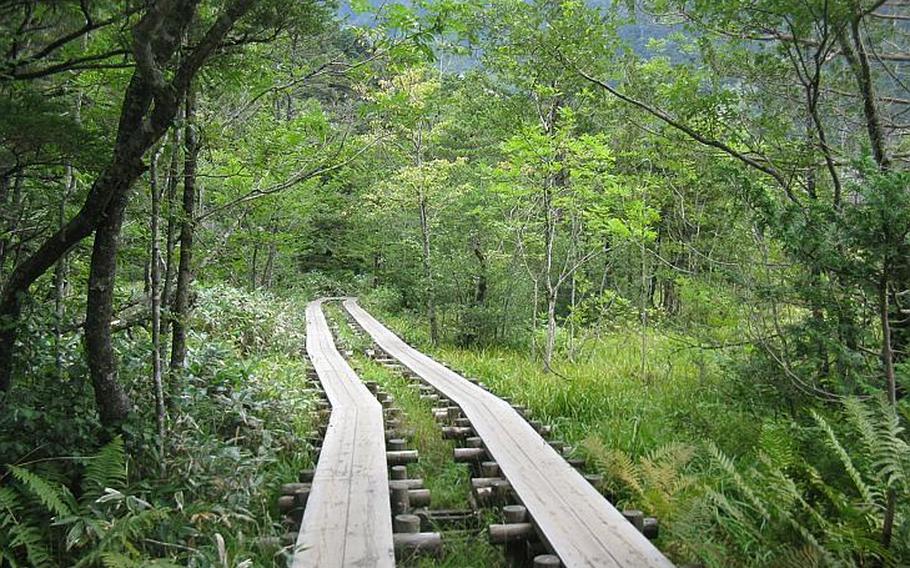 Boardwalks line parts of the 4-kilometer, circular path along the Azusa River in Kamikochi.