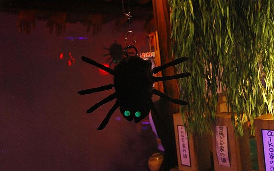 If you want Johnson the Spider to join you at the bar, clap loudly and he'll drop from the ceiling.