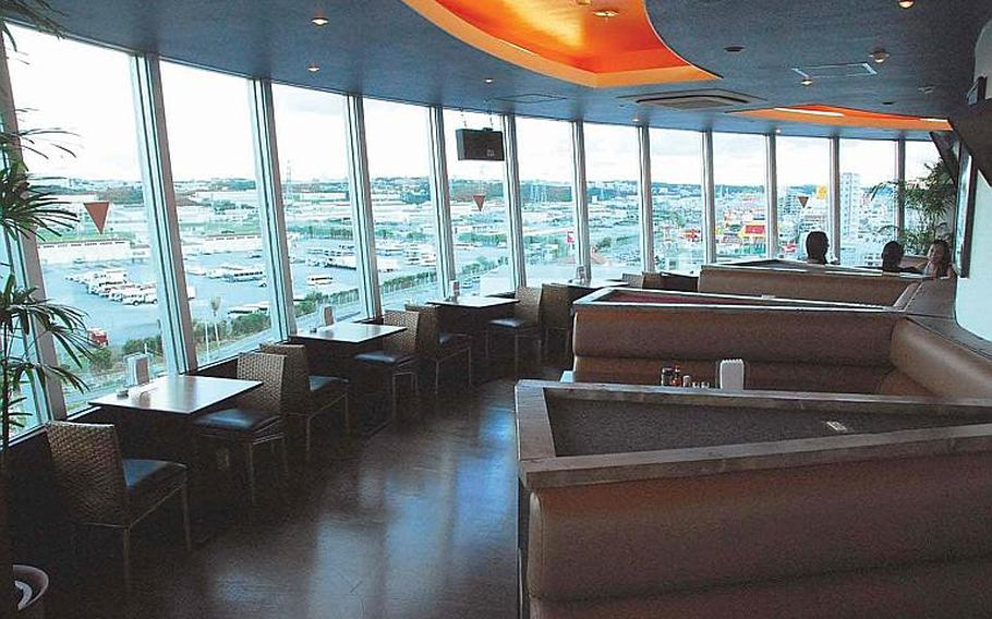 The 360 Grille provides sweeping seventh-floor views of Camp Foster as well as the Mihama beach district on Okinawa.