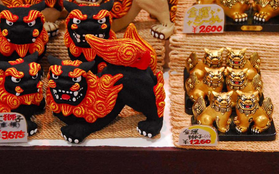 Shisa dogs, such as these sold in the Okinawa World gift shop, are traditional island decorations and often displayed on homes and other buildings.