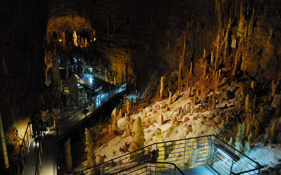 Okinawa World is home to a cave system that is over three miles long. A segment including large caverns and streams is open to the public.