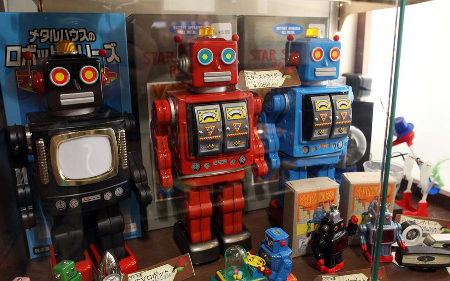 Vintage robot toys at Hakuhinkan Toy Park in Ginza.