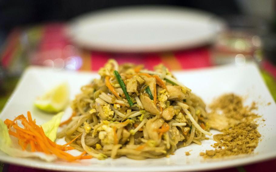 """The chicken """"pad Thai"""" at thaicafe in the Chiaia district of downtown Naples, Italy, is worthy of the name."""
