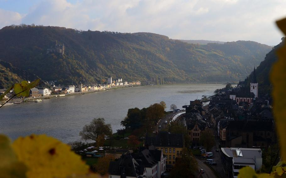 A view of Germany's Rhine Valley and the village of Sankt Goar from Burg Rheinfels' vineyards. On the far side of the Rhine River sits Burg Katz and the village of St. Goarshausen.
